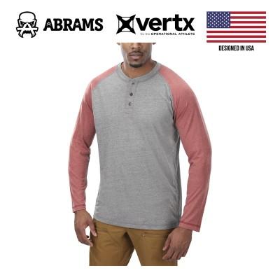 Тактическая футболка с длинным рукавом Vertx Action Henley Heather Grey Red