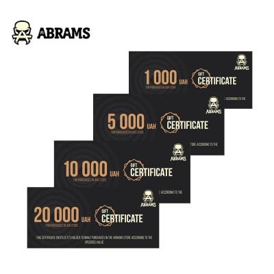 Подарочный сертификат магазина ABRAMS