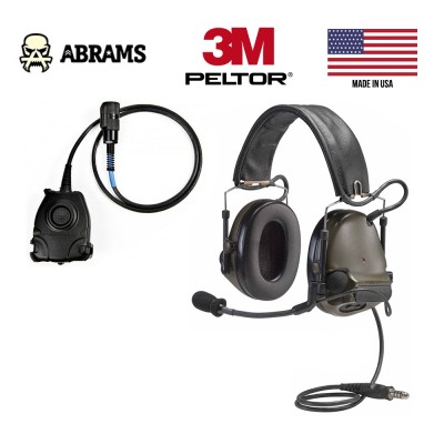 Активные наушники 3M / Peltor ComTac III Single Comm Olive Drab Green + кнопка PTT