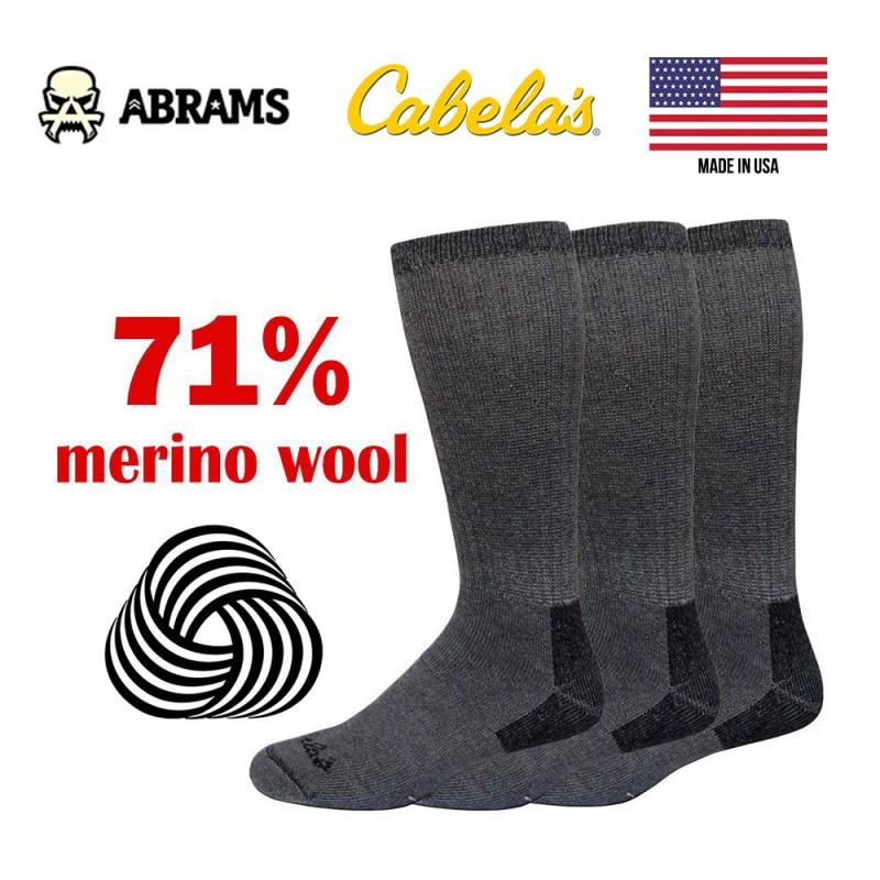 Термоноски из шерсти мерино Cabelas Merino Sock Wear USA 71% Wool (Три пары) р. 42-46